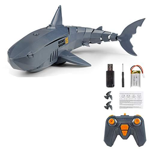 Mini mecánico Tiburón Pez Juguete eléctrico para niños Barco RC Juguete acuático 2.4GHz Control Remoto Submarino Barco tiburón para Piscinas Lagos Carga USB Juguete de baño Regalo,Gris