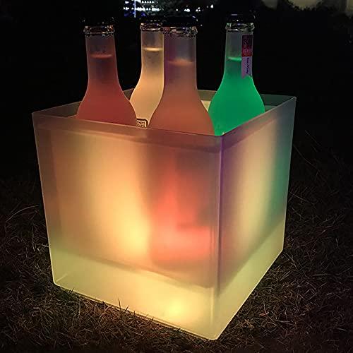 Rock88 3.5L LED Cubo de Hielo Enfriador de Vino Colores Fiesta de Verano Cuadrado de Doble Champán Bebidas Cubitera Pared para el Hogar Bar Club Nocturno