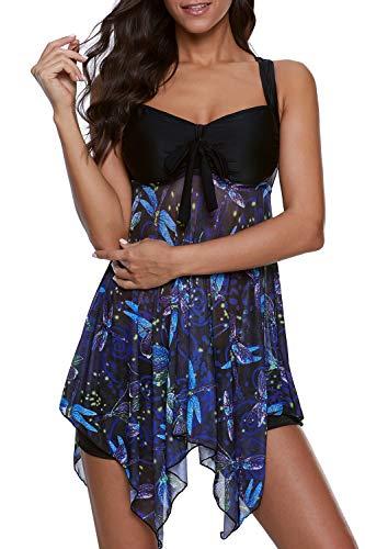 SENSERISE Womens 2 Piece Swimdress Tankini Top Set with Boy Shorts Vintage Slimming Swimsuits Swimwear(Black Dragonfly,XXX-Large)