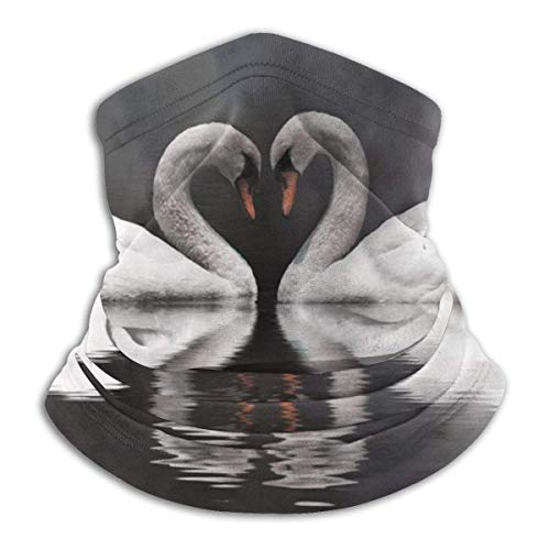 Romantic Swan Couple Love at Moon Night Neck Gaiter Warmer Windproof Mask Dust Face Clothing UV Face Mask Balaclava Scarf for Ourdoor Sport Black