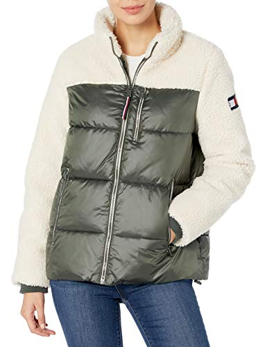Tommy Hilfiger Women's Sherpa Mixed Media Puffer Jacket, Ecru, Extra Large