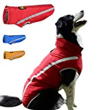 FEimaX Dog Coat Waterproof Windproof Pet Warm Jacket Outdoor, Puppy Reflective Adjustable Outfit Vest Cold Winter Clothes for Small Medium Large Dogs - Soft Fleece Cotton Lined, with Harness Hole