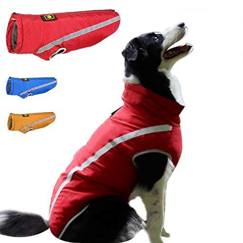 FEimaX Cappotto Invernale Impermeabile per Cani Giacca Calda Antivento Riflettente Cappottino in Pile con Foro per Imbracatura, Vestiti Invernali per Cane di Taglia Piccola Media e Grande
