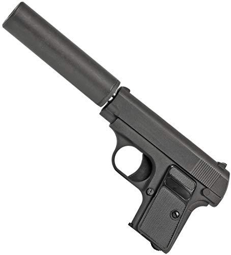 Evil Wear Softair Gun Airsoft Vollmetall Federdruck Silencer Pistole mit Schalldämpfer ca. 13,5cm Inkl Magazin 0,5 Joule