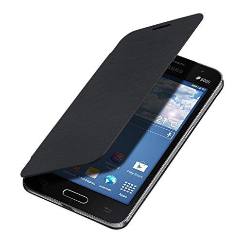 kwmobile Flip Case Hülle kompatibel mit Samsung Galaxy Core II Duos - Aufklappbare Cover Schutzhülle Tasche in Schwarz