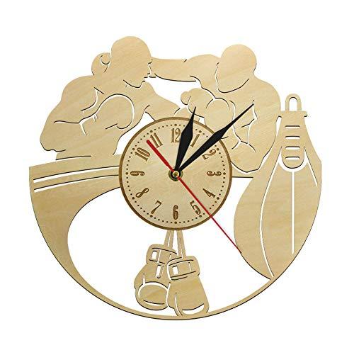 Lucha Deportes Boxeo Madera Reloj De Pared Guantes De Boxeo Saco De Boxeo Infighters Reloj De Decoración Idea Raspador De Caja
