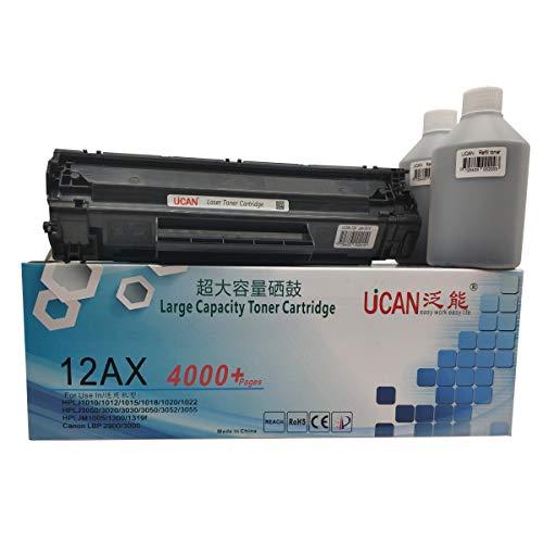 UCAN Q2612A CRG703 FX-10 - Cartuchos de tóner compatibles con HP Laserjet 1010 1018 1020 1022 M1005 Canon LBP2900 LBP3000 MF4010 MF4320 FAX-L140 L160 (14.000 páginas , sin residuos, recargable)