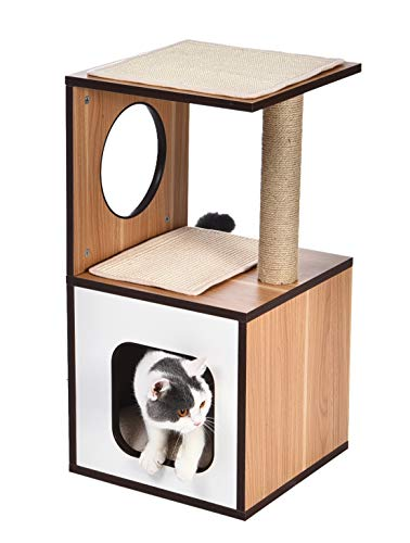 AmazonBasics Single Scratching Post Wooden Cat Tree Furniture - 15 x 15 x 28 Inches