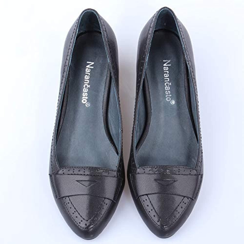 Frühling Leder Mit Einzelnen Schuhe Handgefertigte Damenschuhe Spitzen Leder Komfortable Arbeitsschuhe Vier Jahreszeiten Schuhe