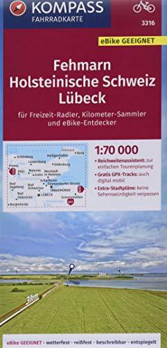 KOMPASS Fahrradkarte Fehmarn, Holsteinische Schweiz, Lübeck 1:70.000, FK 3316: reiß- und wetterfest mit Extra Stadtplänen (KOMPASS-Fahrradkarten Deutschland, Band 3316)