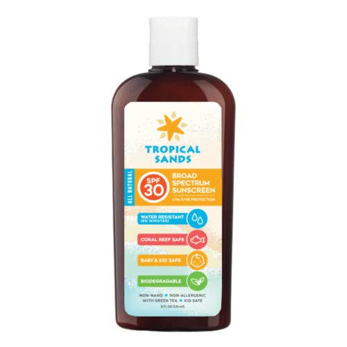 Tropical Sands Natural SPF 30 Mineral Sunscreen Unscented- Best Body Skin Care Products for Men and Women - Fragrance Free, All-Natural Hand and Facial Sunblock - Kid and Baby Safe - 8 fl oz.
