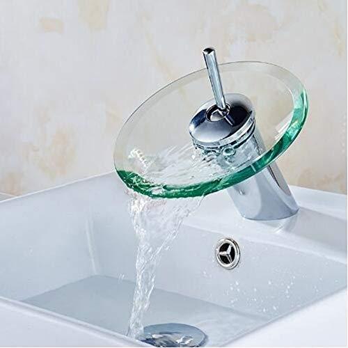 XXYHYQHJD Caliente y fría Mezcla Toque de Escritorio en la Cascada de Cristal de baño Cocina Grifo del Fregadero Ronda Cascada Chrome Grifo de Cuenca