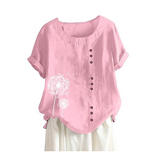 XWANG Camiseta de verano de manga corta para mujer, de lino, con diseño de diente de león, con impresión de diente de león, cuello redondo rosa M