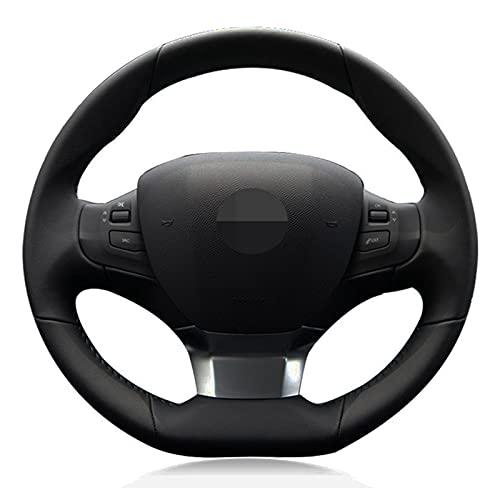 cubierta del volante para Peugeot 308 2016 2017 coche volante cubierta DIY negro cosido a mano cuero artificial