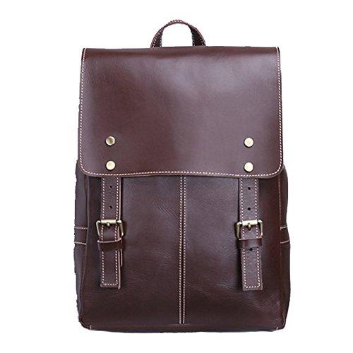 Gendi Jahrgang Echtes Kuhleder Rucksack Laptop Handtasche Reise-Schule-Beutel, beiläufige tägliche Rucksack-Handtasche (Brown)