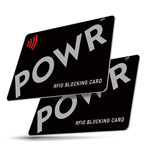 RFID Blocker Karte - (2 Stück) - NFC Schutzkarte - Störsender - Kreditkarten Schutz von POWR, Contactless-Karte Schutz für Ihre Geldbörse oder Handtasche
