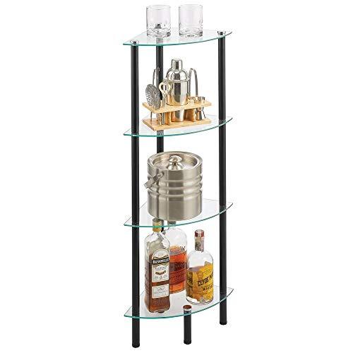 MDESIGN Eckregal – Standregal mit 4 Ablagen für Bad, Flur, Büro oder Schlafzimmer – stehendes Regal aus Metall mit Regalböden aus Glas – schwarz und durchsichtig