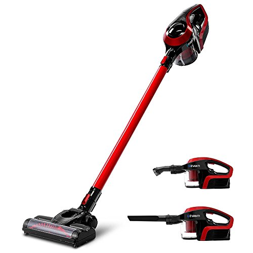 Devanti Handstick Vacuum Cleaner 2 in 1 Cordless Handheld Vacuum Cleaner Bagless Upright Sweeper Pet Hair Electric Broom Lightweight Battery Rechargeable Family and Car Cleaning 150W Red and Black