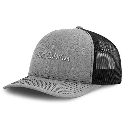 Speedy Pros Richardson Trucker Hat Hiroshima Japan Embroidery Polyester Baseball Cap Snapback Heather Grey Black Design Only
