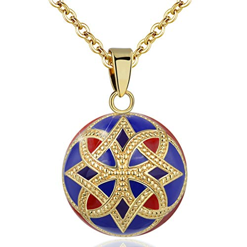 EUDORA Harmony Ball Necklace for Women Celtic Knot Necklace, Chime Balls Angel Caller Vintage Jewelry, Wishing Bola Enamel Craft Pendant for Women, 30' and 45' Chain