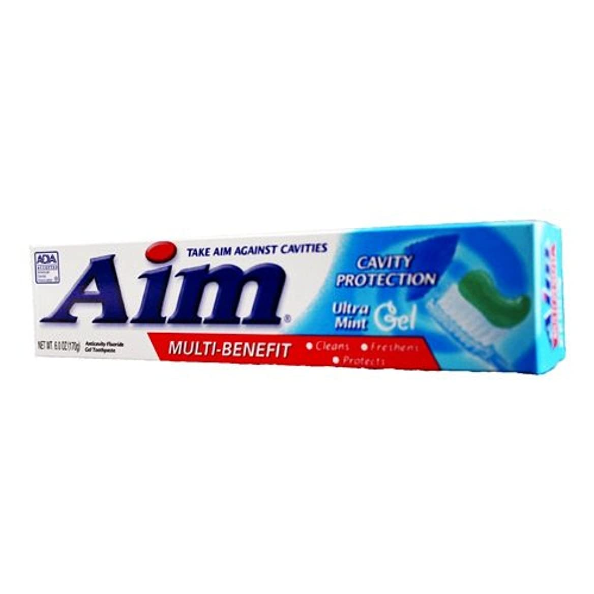 Aim Cavity Protection Anticavity Fluoride Toothpaste, Ultra Mint Gel 180 ml (Pack of 12) (並行輸入品)