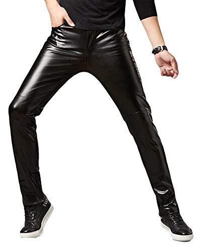 Pantalons De PU Leather para Hombre Pantalones De Cuero Slim Fit Moto Steampunk Hip Hop Biker Pantalón Negro 2XL