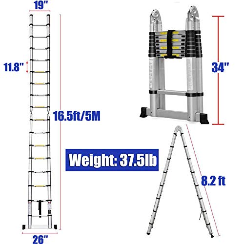 16.5FT Aluminum Telescoping Extension Ladder 330lbs Max Capacity A-Frame Lightweight Portable Multi-Purpose Folding with Support Bar Anti-Slip EN131 Certificated