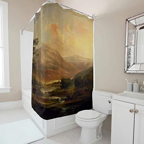 Twelve constellations Cortina de ducha – estilo paisaje, universal, resistente al agua, incluye ganchos, color blanco, 120 x 180 cm