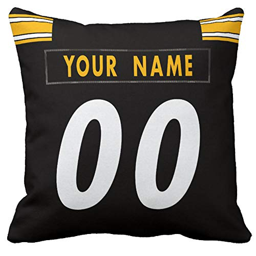 """Custom Football Personalized Decorative Throw Pillow 18"""" x 18"""" - Print Customization Accent Couch Throw Pillows Covers Select Any Name & Any Number (P.Steelers)"""