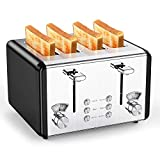 Toaster 4 Slice,whall Stainless Steel Extra Wide 4 Slots Toaster- Dual Independent Control Panels,6 Bread Shade Settings,Bagel/Defrost/Cancel Function,Removable Crumb Tray,Toast Evenly and Quickly for Various Bread Types (1500W,Black) (Renewed)