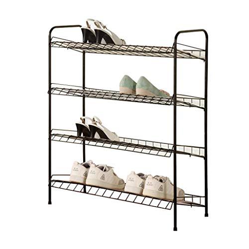 XXCHUIJU Zapato Estante zapatería Organizador estantes de Metal Malla de Metal 4 Niveles de Almacenamiento Torre gabinete apilable Estante Estante casa Entrada con Zapatos de cojín Organizador