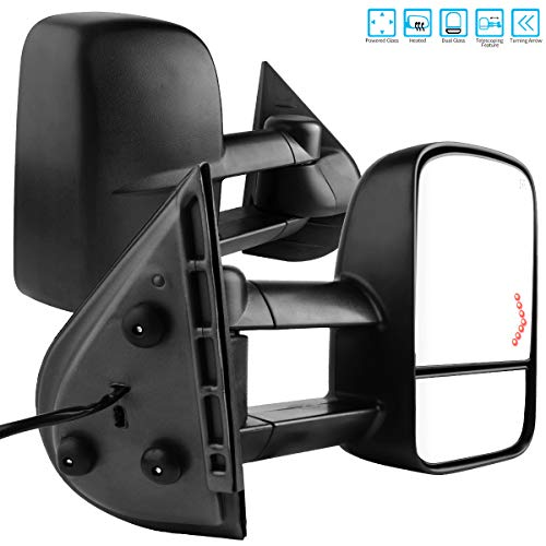 AUTOSAVER88 Tow Mirrors Compatible for 2007-2014 Chevy Silverado GMC Sierra, Power Heated Driver and Passenger Side Replacement Towing Mirror Set with Turn Signal and Dual Glass