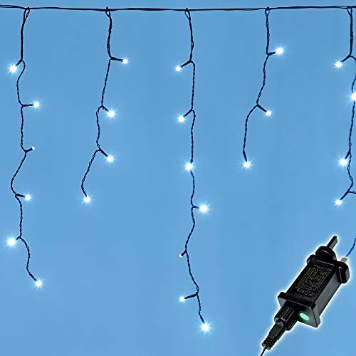 Icicle Lights Weihnachtsbeleuchtung für den Außenbereich, 480 LEDs, 15 m lang, Kaltweiß