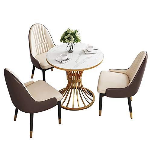 JU FU Tisch- und Stuhlkombination, leuchtet Luxus modern minimalistischen Tisch und Stuhl Kombination Hausgarten Balkon kreativ runder Tisch, 3 Kombinationen verfügbar
