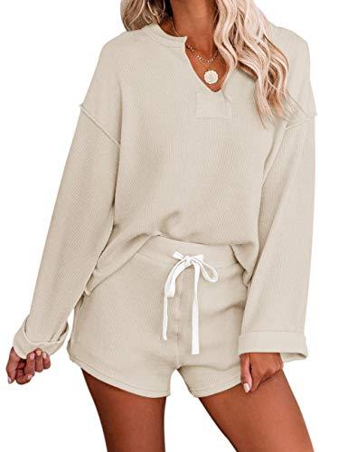 MEROKEETY Women's Long Sleeve Pajama Set Henley Knit Tops and Shorts Sleepwear Loungewear, Beige, M