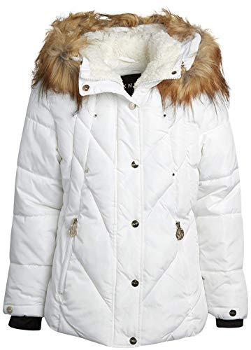DKNY Girls' Winter Coat - Puffer Ski Jacket with Removable Faux-Fur Trimmed Hood, White, Size 7/8