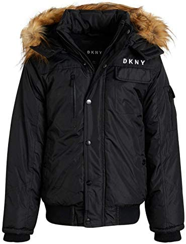 DKNY Boy s Outerwear Winter Fleece Lined Parka Bomber Jacket with Removable Fur Lined Sherpa product image