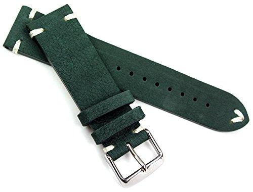 22mm Lederband Vintage Retro Look Tanne Grün Militär Marine weiße Naht
