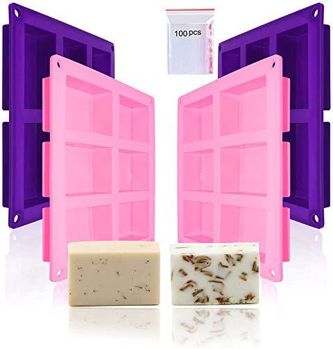 Moldes rectangulares de jabón de silicona, moldes de jabón