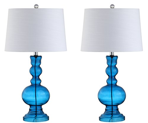 """JONATHAN Y JYL1061C-SET2 Genie 28.5"""" Glass LED Lamp Contemporary,Transitional for Bedroom, Living Room, Office, College Dorm, Coffee Table, Bookcase, Night Blue, 2 Count"""