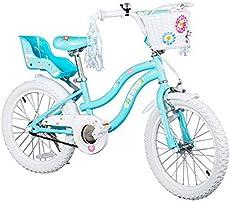 COEWSKE Kid's Bike Steel Frame Children Bicycle Little Princess Style 18 Inch with Training Wheel (Blue, 18 Inch)