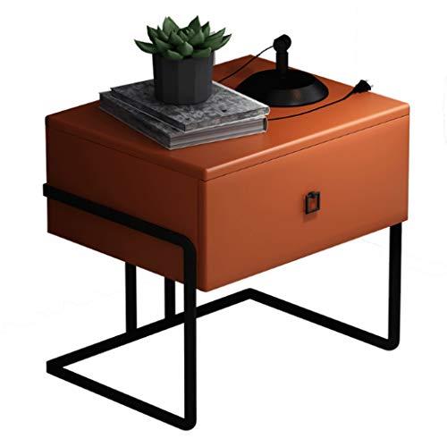 Fevilady comodino in legno con cassetti moderno e minimalista camera da letto comodino portaoggetti soggiorno studio comodino comodino (colore: arancione)