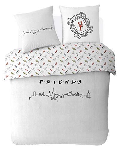 Friends - Juego de Cama (220 x 240 cm, 100% algodón), Color Blanco