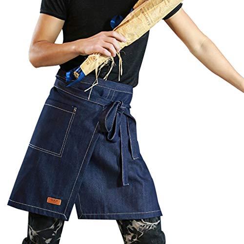 Grembiuli Vita Corta Grembiule da Cucina di Jeans con Tasche per Server Ristorante Chef Cameriera Cameriere Mixologo Fiorista Mezza,Bluea