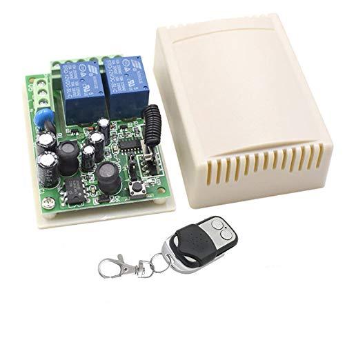 Récepteur Universel 2 Canaux avec Émetteur Télécommande 433 Mhz Récepteur Radio Auto-apprentissage pour Lumières Lampes Portail Automatique AC 220V