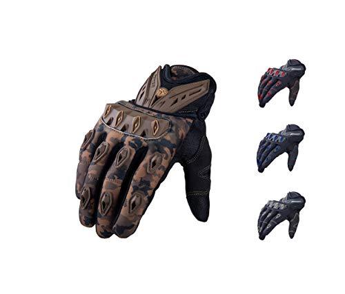 SCOYCO Herren-Motorradhandschuhe, leichte Stretch-Strickware Kurze Handschuhe mit Knöchelschutz Tarnfarbe für Motorradrennen Offroad-Outdoor-Sportarten (Camouflage, L)