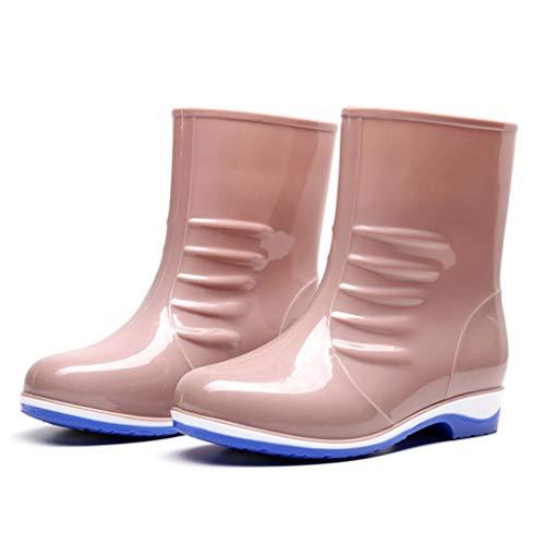 YQQMC Corto Botas de Lluvia Antideslizantes Impermeables Zapatos de Trabajo de Las Mujeres sólidas Color de los Zapatos del jardín En el jardín (Color : Khaki, Size : 36)