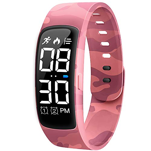 Niceline Kids Fitness Tracker Watch, Activity Tracker Pedometer Watch with Alarm Calorie Step Counter Sport Bracelet Gift for Girls Boys Teens (Camouflage Pink)