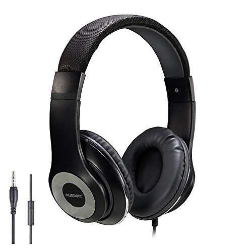 On Ear Kopfhörer, AUSDOM Faltbare Headphone mit Mikrofon, Wired Over-Ear Headset Leicht Studiokopfhörer mit HiFi Stereo für iPhone, iPad, Samsung, Huawei, HTC, TV, Laptop, Tablet