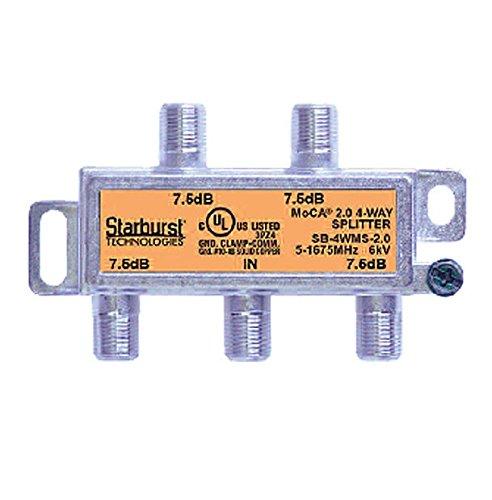 Starburst 4-Way Coax Splitter Horizontal SB-4WMS-2.0 MOCA 2.0 CATV FIOS Verizon Frontier Compatible (Catv Signals 4 Way)